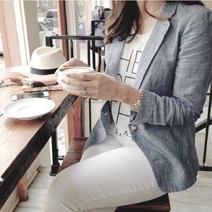 MaxMara FlaxLinen Blazer Gray Chambray Size 4